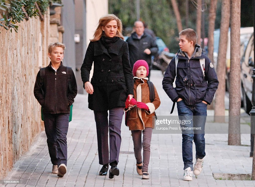 Princess Cristina Of Spain And Kids Sighting In Barcelona   January 15, 2013