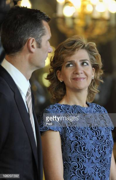 Princess Cristina of Spain and husband Inaki Urdangarin attend Spain's National Day Royal Reception at the Royal Palace on October 12 2010 in Madrid...