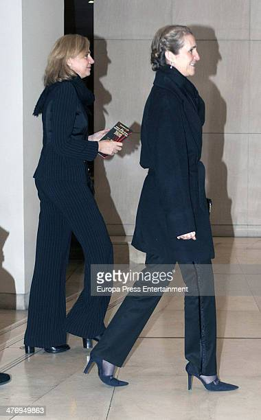 Princess Cristina of Spain and Princess Elena of Spain attend a screening of a documentary about King Paul I of Greece on March 5 2014 in Athens...