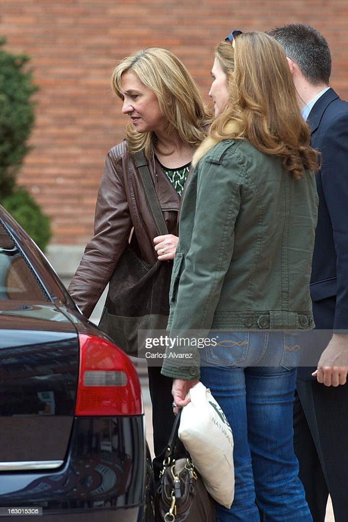 Princess Cristina of Spain (L) and Princess Elena of Spain (R) visit King Juan Carlos of Spain at La Milagrosa Hospital on March 3, 2013 in Madrid, Spain. King Juan Carlos of Spain goes under surgery for a lower back disc hernia at La Milagrosa Hospital on March 3, 2013 in Madrid, Spain. He had hip surgery last November. The King has had several other health issues in the past two years, including knee surgery and the removal of a benign lung tumor.