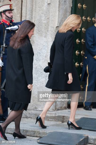 Princess Cristina of Spain and Princess Irene of Greece attend the mass to mark the 25th Anniversary of the Count of Barcelona's death at the...