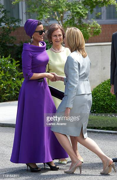 Princess Cristina of Spain and Queen Sofia of Spain receive Sheikha Moza Bint Nasser Al-Missned for lunch at El Pardo Palace on April 25, 2011 in...