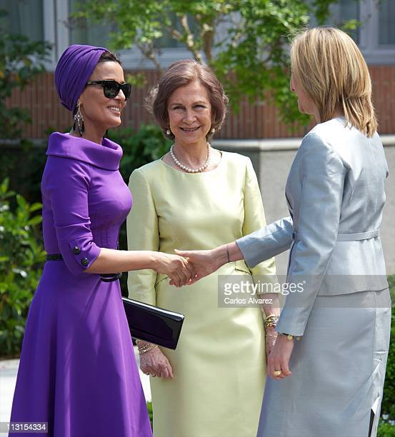 Princess Cristina of Spain and Queen Sofia of Spain receive Sheikha Moza Bint Nasser AlMissned for Lunch at El Pardo Palace on April 25 2011 in...