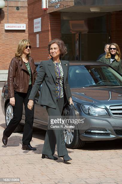 Princess Cristina of Spain and Queen Sofia of Spain visit King Juan Carlos of Spain at La Milagrosa Hospital on March 3 2013 in Madrid Spain King...