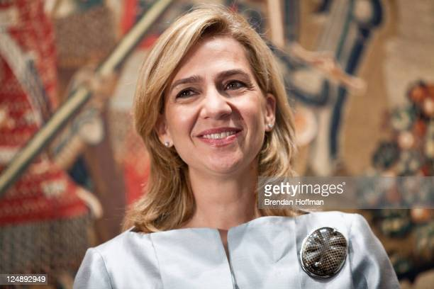 Princess Cristina of Spain attends the opening of The Invention Of Glory Afonso V And The Pastrana Tapestries exhibition at the National Gallery of...