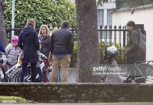 Princess Cristina of Spain her kids Pablo Nicolas Urdangarin and Irene Urdangarin and Inaki Urdangarin's sister Lucia Urdangarin are seen on December...