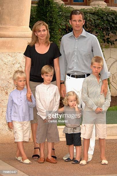 Princess Cristina of Spain husband Inaki Urdangarin and sons Miguel Pablo Nicolas Irene and Juan Valentin during the photocall on August 6 2007 at...