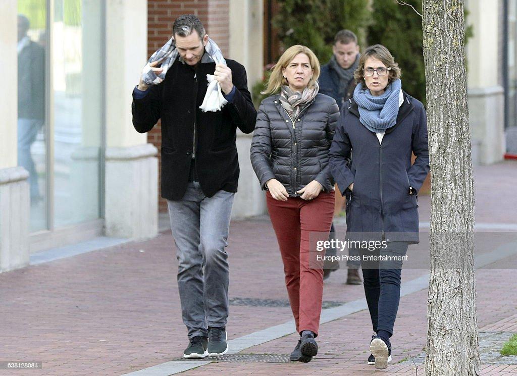 Princess Cristina of Spain, Inaki Urdangarin and his sister Lucia Urdangarin (R) are seen on December 27, 2016 in Vitoria-Gasteiz, Spain.