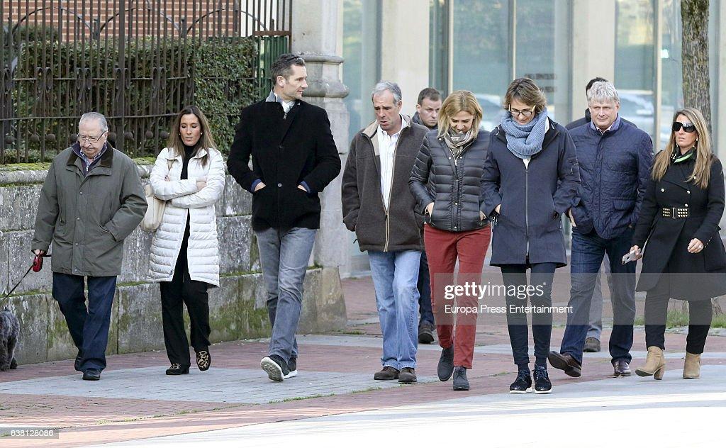 Princess Cristina of Spain (4R), Inaki Urdangarin (3L), his sister Lucia Urdangarin (3R) and Inaki Urdangarin's relatives are seen on December 27, 2016 in Vitoria-Gasteiz, Spain.