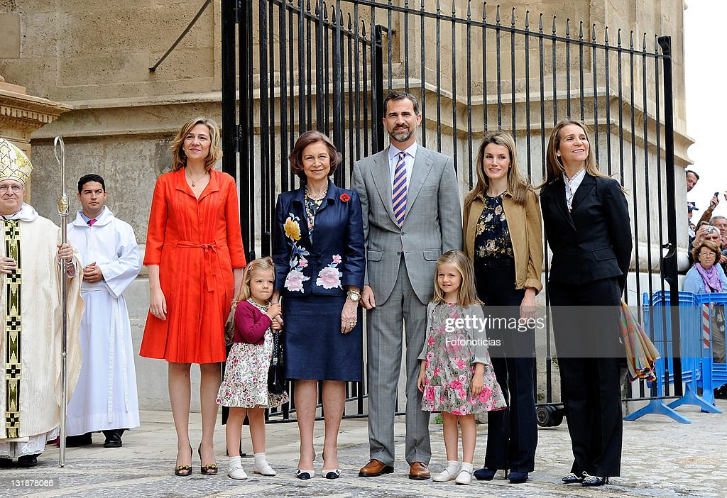 Spanish Royals attend Easter Mass in Mallorca : News Photo