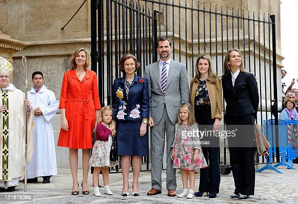 Princess Cristina of Spain, Infanta Sofia of Spain, Queen Sofia of Spain, Prince Felipe of Spain, Infanta Leonor of Spain, Princess Letizia of Spain...