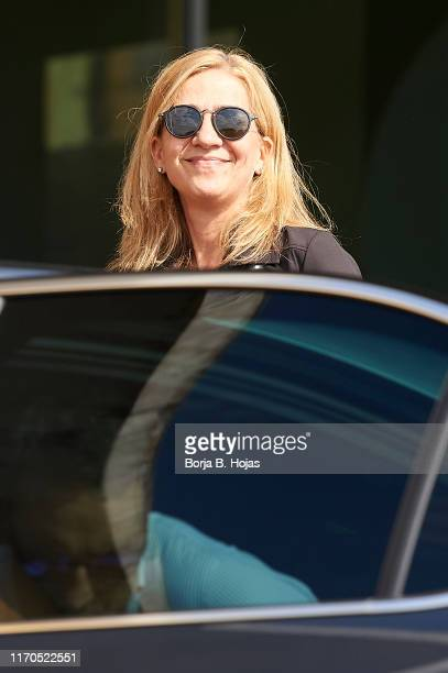 Princess Cristina of Spain is seen arriving at Quiron Hospital after visit King Juan Carlos on August 27 2019 in Pozuelo de Alarcon Spain