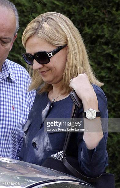 Princess Cristina of Spain is seen leaving Princess Miriam de Ungria's home after having lunch the same day of the funeral of her husband Prince...