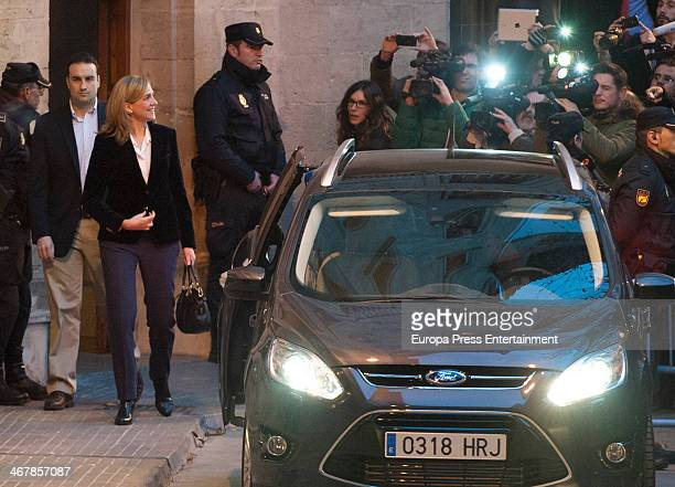 Princess Cristina of Spain leaves court after giving evidence during the 'Noos Trial' on February 8 2014 in Palma de Mallorca Spain Princess Cristina...