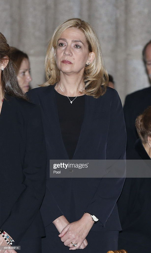 Princess Cristina of Spain pays her respects at El Escorial Monastery for a Corpore Insepulto Mass of Spain's Duke of Calabria, Carlos de Borbon Dos Sicilias on October 8, 2015 in San Lorenzo de El Escorial, Spain. Carlos de Borbon was born in 1938 and attended school with King Juan Carlos, where they became very good friends. He ranked first in the line of succession after the descendants of Don Juan Carlos and Queen Sofia.