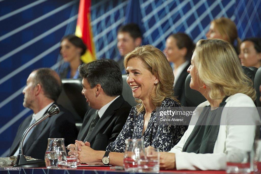 Princess Cristina of Spain (C) presides 'Real Orden del Merito Deportivo' awards ceremony on October 5, 2011 in Madrid, Spain.