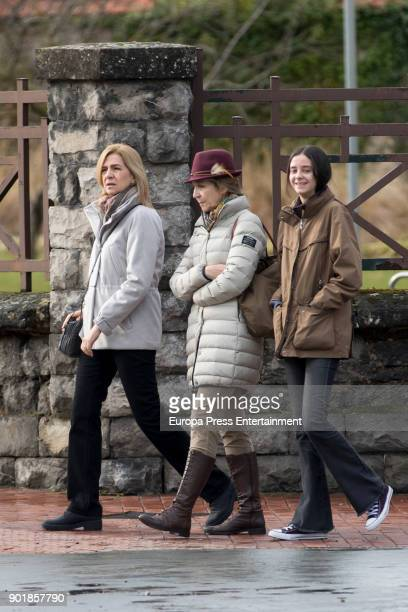 Princess Cristina of Spain Princess Elena of Spain and her daughter Victoria Federica de Marichalar are seen on December 29 2017 in VitoriaGasteiz...