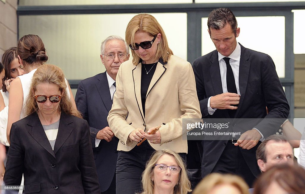Princess Cristina of Spain, Princess Elena of Spain (L) and her husband Inaki Urdangarin attend Jose Maria Trevino's funeral on July 11, 2016 in Madrid, Spain.