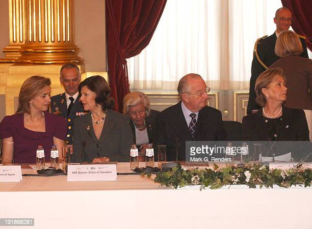 Princess Cristina of Spain Queen Silvia of Sweden King Albert of Belgium and Queen Paola of belgium attend a conference dealing with 'Vulnerable...