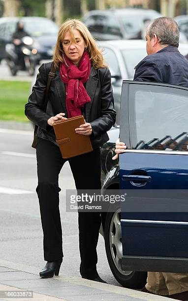 Princess Cristina of Spain walks to her office on April 8 2013 in Barcelona Spain A Spanish court has named Princess Cristina of Spain a suspect and...