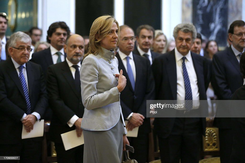 Princess Cristina of Spain with President of the General Council of the Judiciary Gonzalo Moliner, President of the Constitutional Court Francisco Perez de los Cobos, Senate President Pio Garcia Escudero, President of the Congress of Deputies of Spain Jesus Posada and Prime Minister of Spain Mariano Rajoy at the Mass commemorating the centenary of the birth of Don Juan de Borbon in the chapel of the Royal Palace in Madrid, Spain on June 20, 2013. The mass was attended by the Prince of Asturias, Spain's Prime Minister Mariano Rajoy, and other senior government officials.