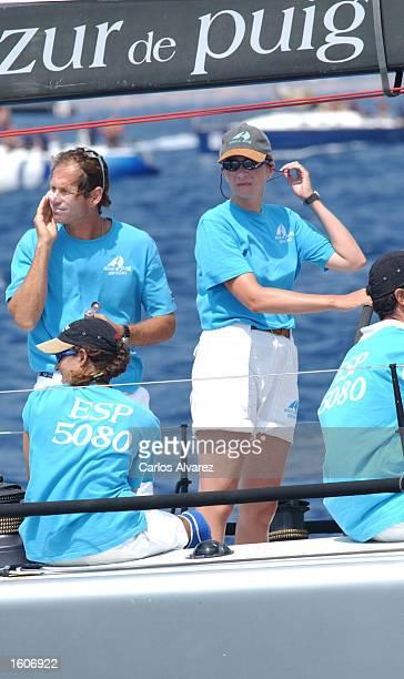 Princess Cristina steers the ship Azur de Puig during fourth day of the 20th Copa del Rey regatta August 4 2001 at Palma de Mallorca Island Spain