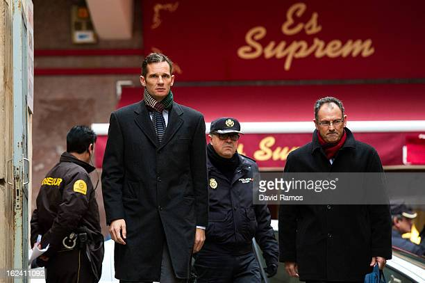 Princess Cristina's husband Inaki Urdangarin and his lawyer Mario Pascual Vives arrive at the courthouse of Palma de Mallorca to give evidence during...