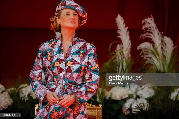 Princess Delphine attends the ceremony in front of the Royal Palace on the occasion of the National Day on July 21, 2021 in Brussels, Belgium.