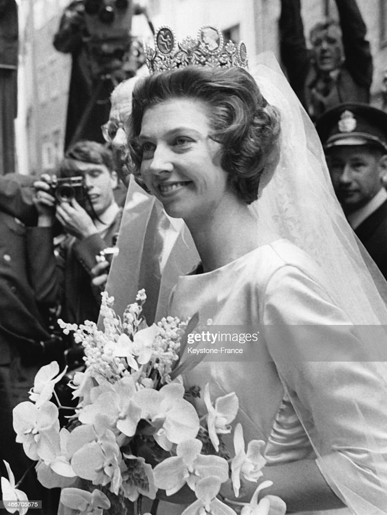 Princess Desiree of Sweden on her wedding day is arriving at Stockholm Cathedral for the religious ceremony on June 05, 1964 in Stockholm, Sweden.