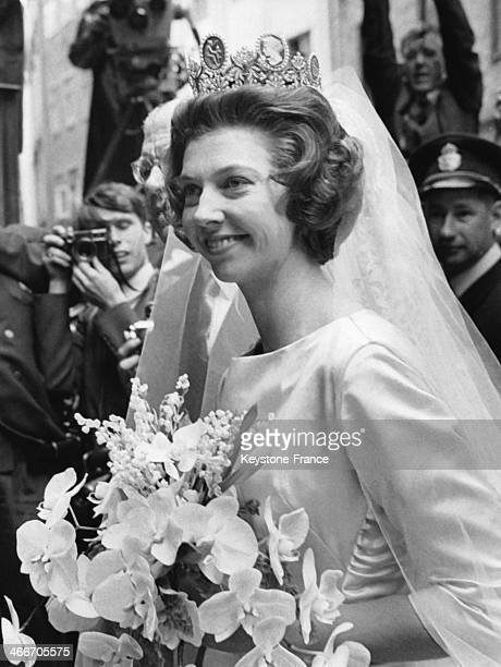 Princess Desiree of Sweden on her wedding day is arriving at Stockholm Cathedral for the religious ceremony on June 05 1964 in Stockholm Sweden