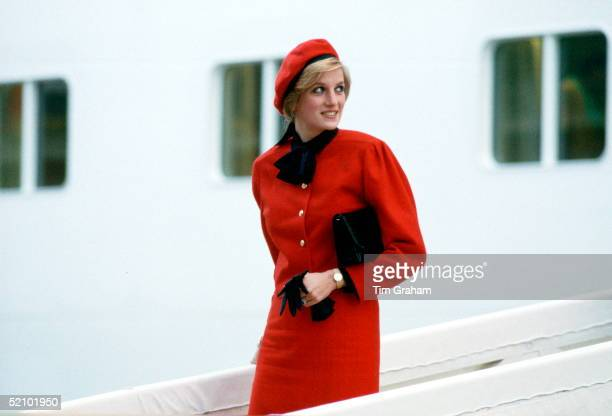 "Princess Diana Aboard The New P & O Cruise Liner ""royal Princess"", Named In Honour Of Her, After Giving The Ship Its Name At A Formal Naming Ceremony."