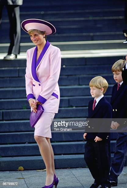 Princess Diana accompanied by her sons Prince Harry and Prince William to a special service for fire brigade veterans at St Paul's Cathedral The...