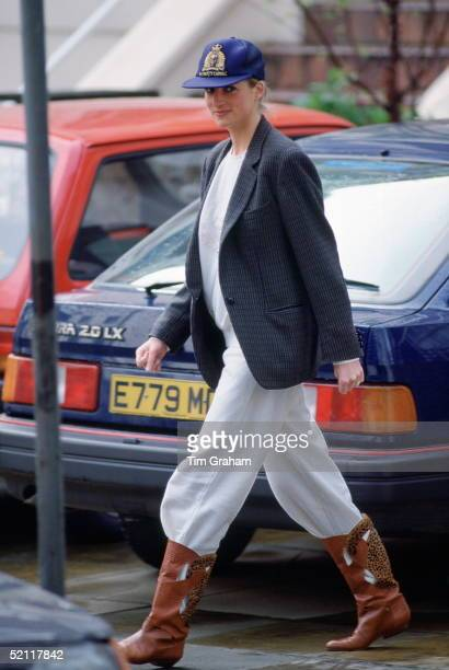 Princess Diana After Dropping Her Sons Off At Wetherby School.