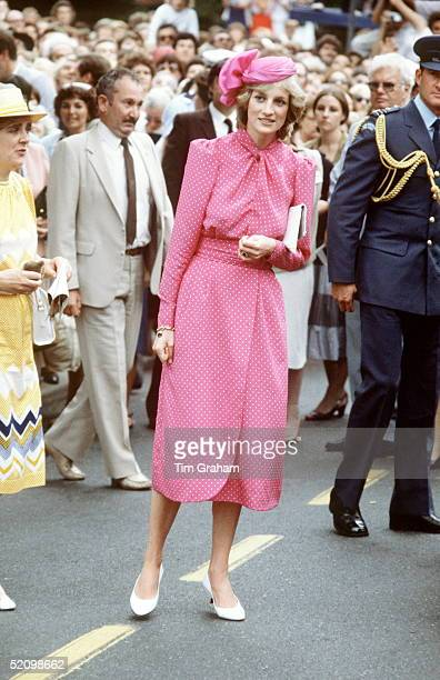 Princess Diana After Visiting Freemantle Hospital Near Perth Australia She Is Wearing A Pink Dress By Fashion Designer Donald Campbell With A Hat By...