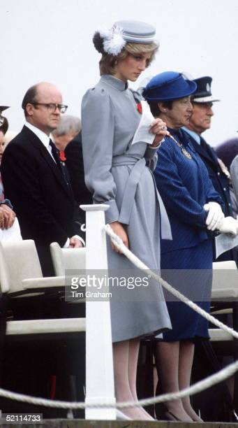 Princess Diana And Behind Her Edward Adeane The Prince Of Wales's Private Secretary Attending An Anzac Day Parade At Auckland War Memorial New Zealand