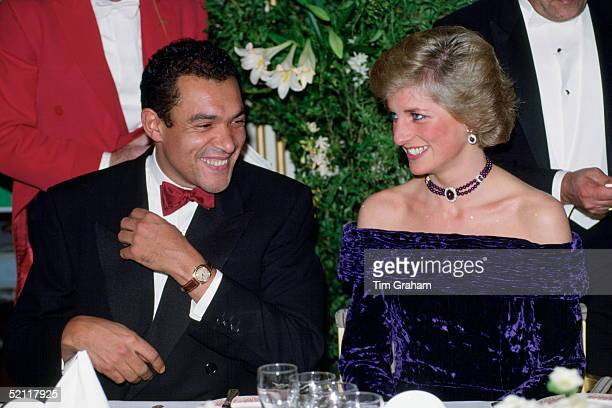 Princess Diana And Bruce Oldfield At A Gala Dinner In Aid Of The Charity Barnado's She Is Wearing A Crushed Velvet Purple Dress Designed By Him