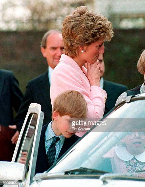 Princess Diana And Her Son Prince Harry Meeting Members Of The Second Battalion Of The Princess Of Wales's Royal Regiment At Kensington Palace Before...
