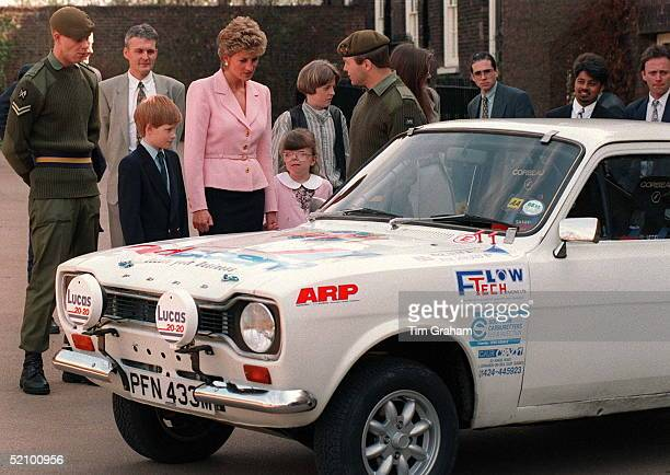 Princess Diana And Her Son Prince Harry Meeting Soldiers From The Second Battalion Of The Princess Of Wales's Royal Regiment At Kensington Palace...