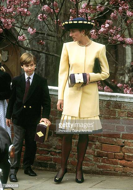 Princess Diana and her son Prince William leaving Windsor Chapel after the traditional Easter service April 1992 They are both holding Easter eggs...