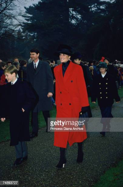Princess Diana and her son Prince William on their way to a Christmas Day service at Sandringham Church 25th December 1993