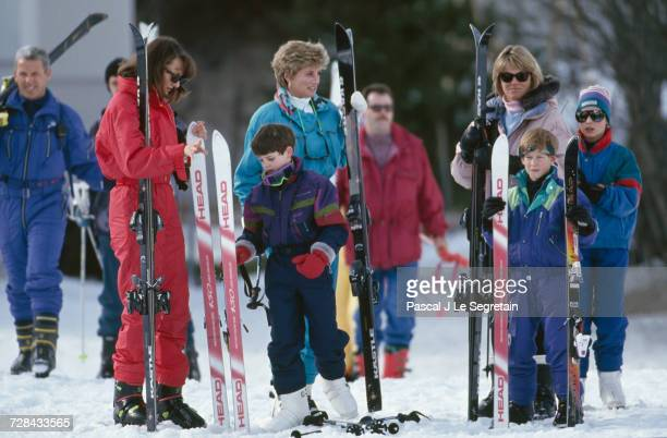 Princess Diana and her sons Prince William and Prince Harry during a skiing holiday in Lech Austria 24th March 1994 With them are friends Kate...