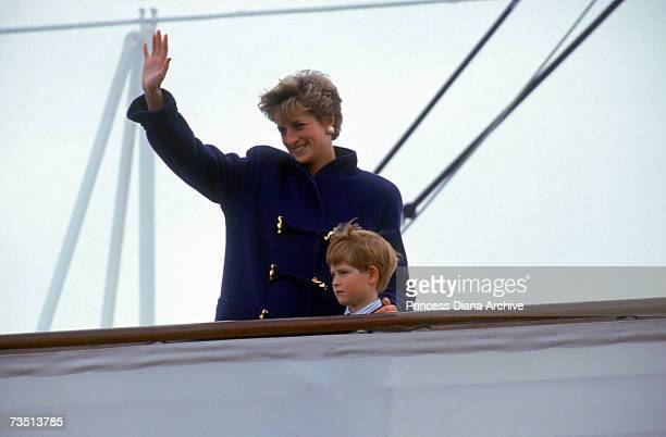 Princess Diana and her young son Harry leaving Toronto on board the royal yacht Britannia 27th October 1991