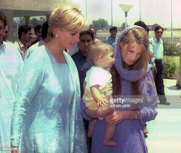 Princess Diana and Jemima Khan, who is carrying her son, arrive at Lahore airport to launch a new fund-raising campaign for former cricket hero Imran...