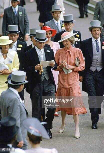 Princess Diana And Prince Andrew Attending Royal Ascot Races