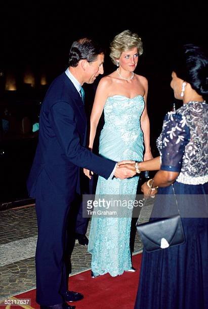 Princess Diana And Prince Charles Arriving For A Banquet During Their Royal Tour Of Cameroon. The Princess Is Wearing A Dress Designed By Fashion...