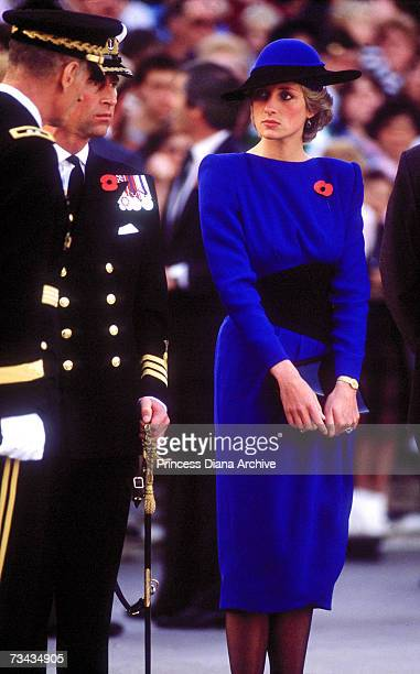 Princess Diana and Prince Charles at Arlington Cemetery Washington DC where they laid a wreath November 1985 The princess is wearing a dress and hat...