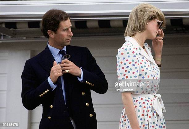 Princess Diana And Prince Charles At Guards Polo Club At Smith's Lawn.