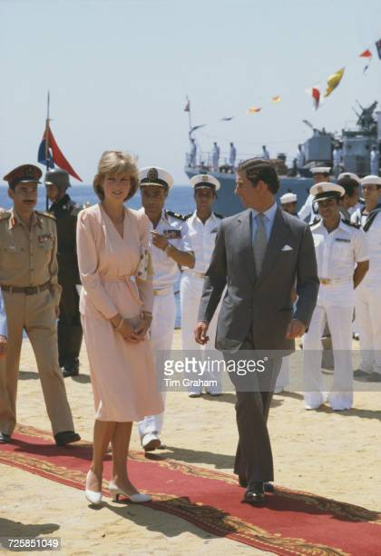Princess Diana and Prince Charles at Hurghada International Airport in Egypt before flying back to Britain at the end of their honeymoon cruise 15th...