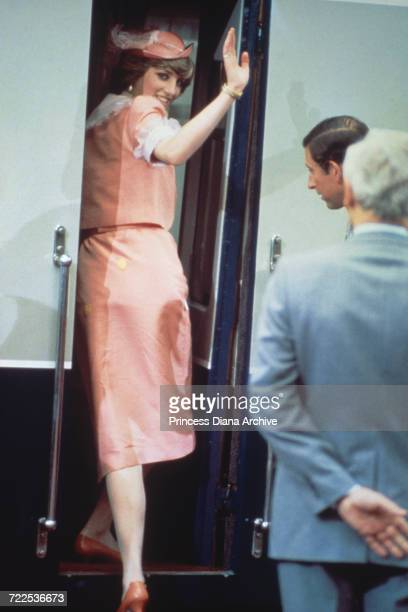Princess Diana and Prince Charles at Romsey Station in Hampshire, before leaving on their honeymoon trip to Gibraltar on the Royal Yacht Brittania,...