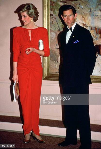 Princess Diana And Prince Charles At The National Galley In Melbourne She Is Wearing A Dress Designed By Fashion Designer Bruce Oldfield